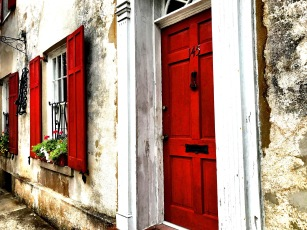 Shot and edited with iPhone. Red Door on amazing old home in Charleston.
